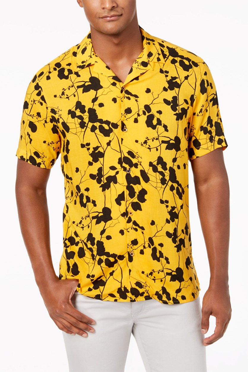 International Concepts Mens Twig Leaf Shirt, Yellow Combo