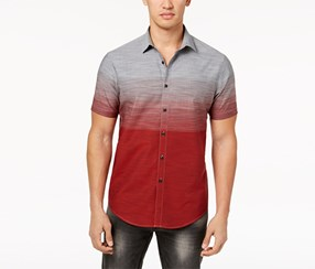 Inc Men's Ombre Shirt, Grey/Maroon