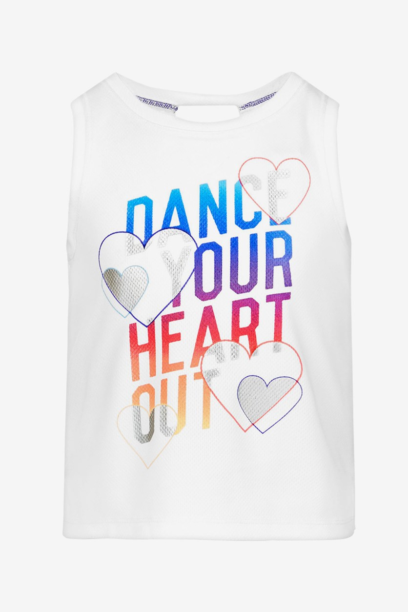 Little Girls Dance-Print Tank Top, Bright White