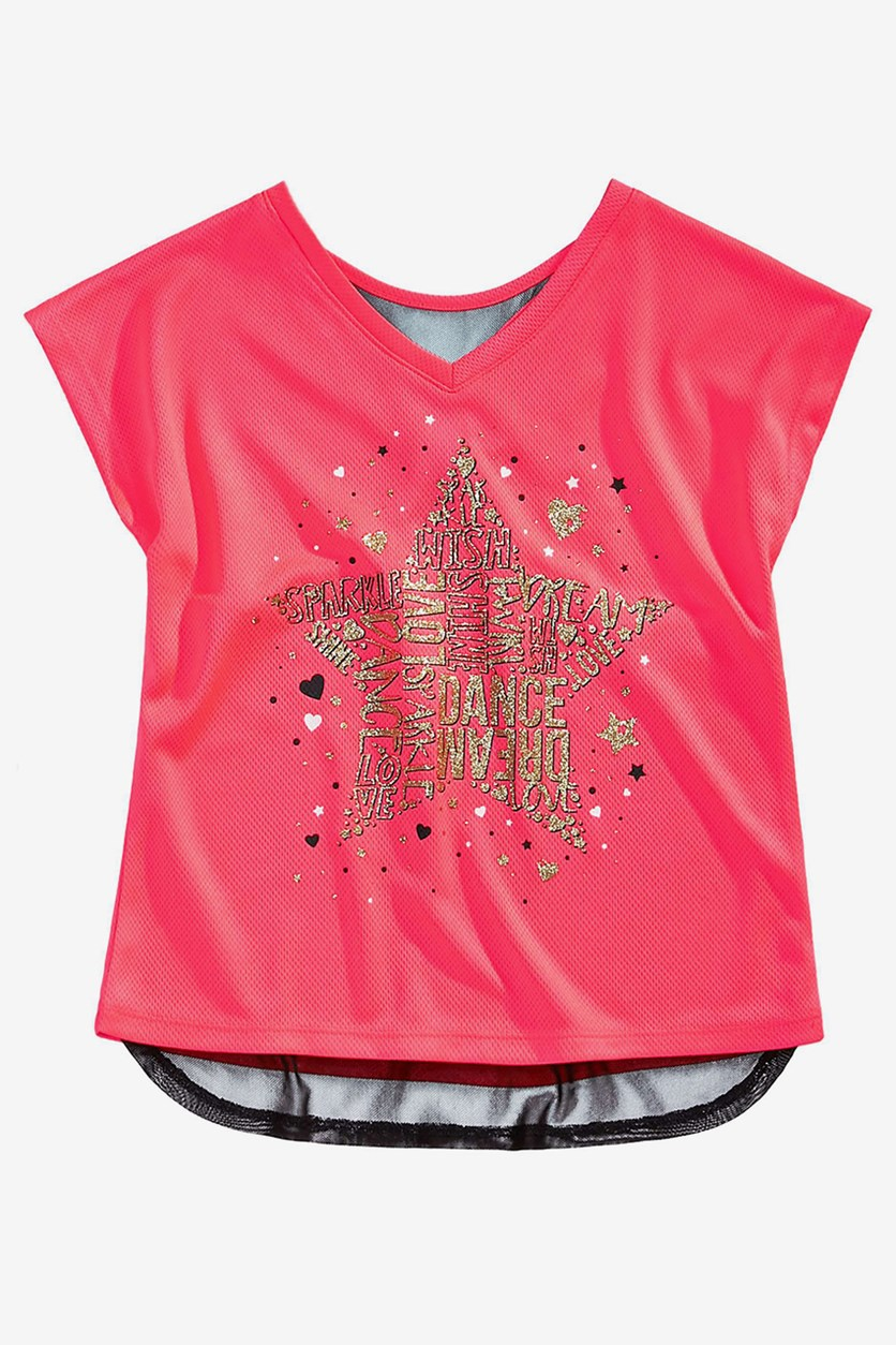 Toddler Girls Graphic-Print T-Shirt, Flamingo Pink
