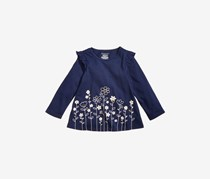 Baby Girls Floral-Print Ruffle Tunic, Admiral Heather