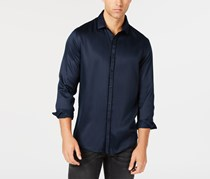 International Concepts Long Sleeve Solid Casual Shirt, Navy