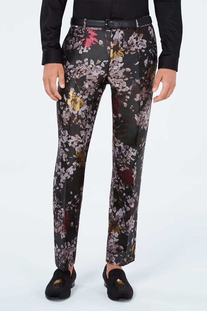 Men's Slim-Fit Metallic Floral-Print Pants, Black/Brown