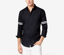 International Concepts Men's Striped-Sleeve Button Down Shirt, Black