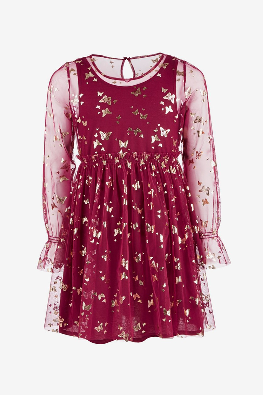 Big Girls Butterfly-Print Mesh Dress, Maroon