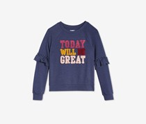 Epic Threads Big Girls Ruffle-Sleeve Sweatshirt, Navy