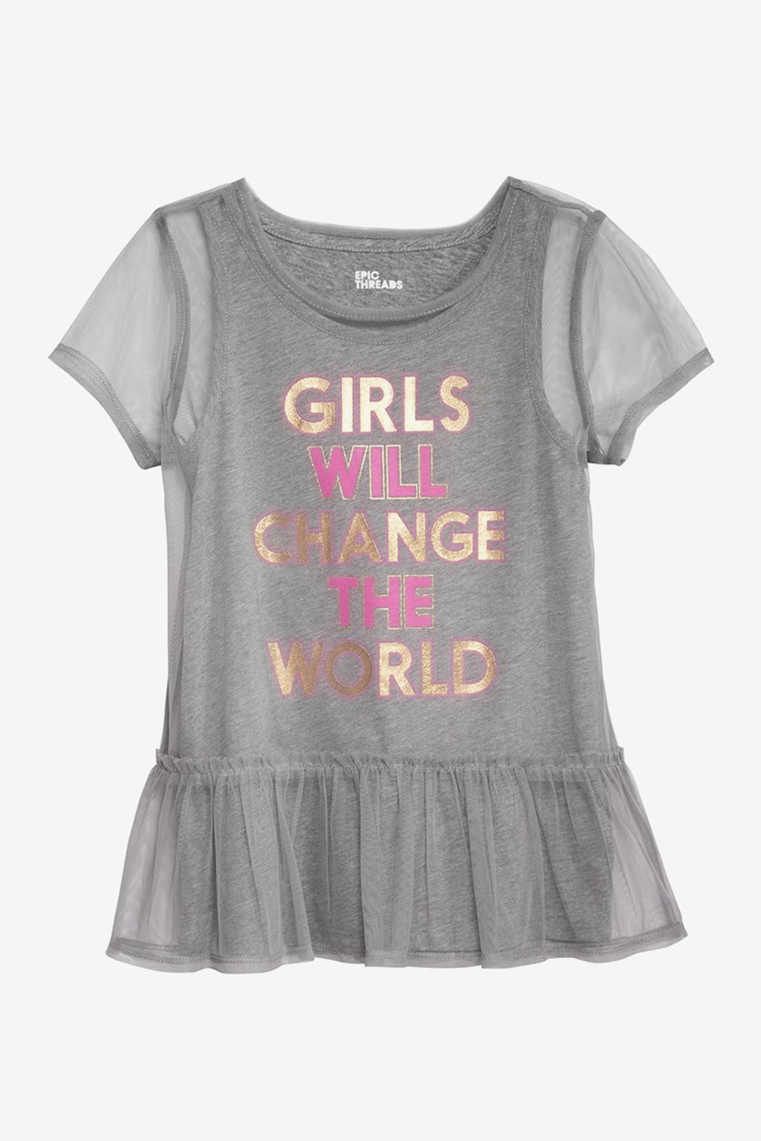 Big Girls Layered-Look Mesh T-Shirt, Pewter Heather