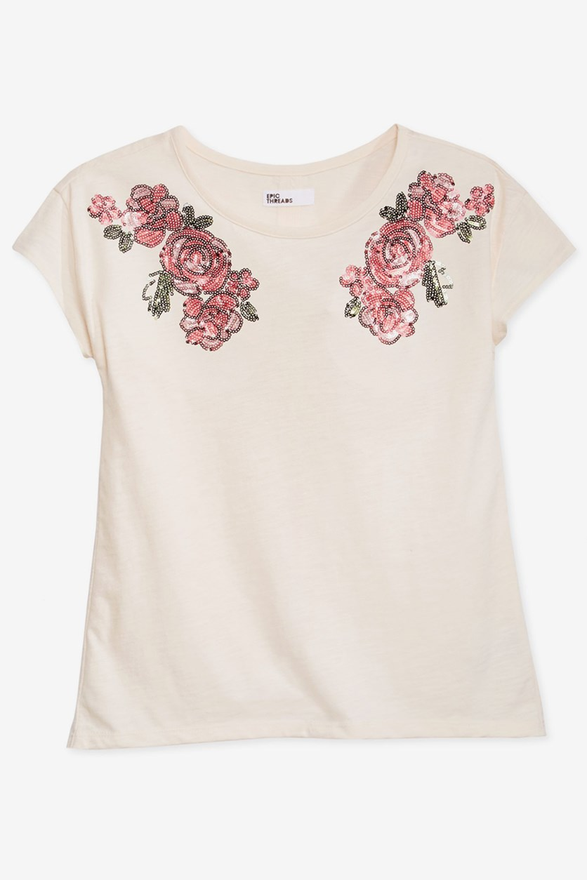 Big Girls Mesh-Back T-Shirt, Holiday Ivory