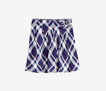 Big Girls Wrap-Front Plaid Skirt, Medival Blue