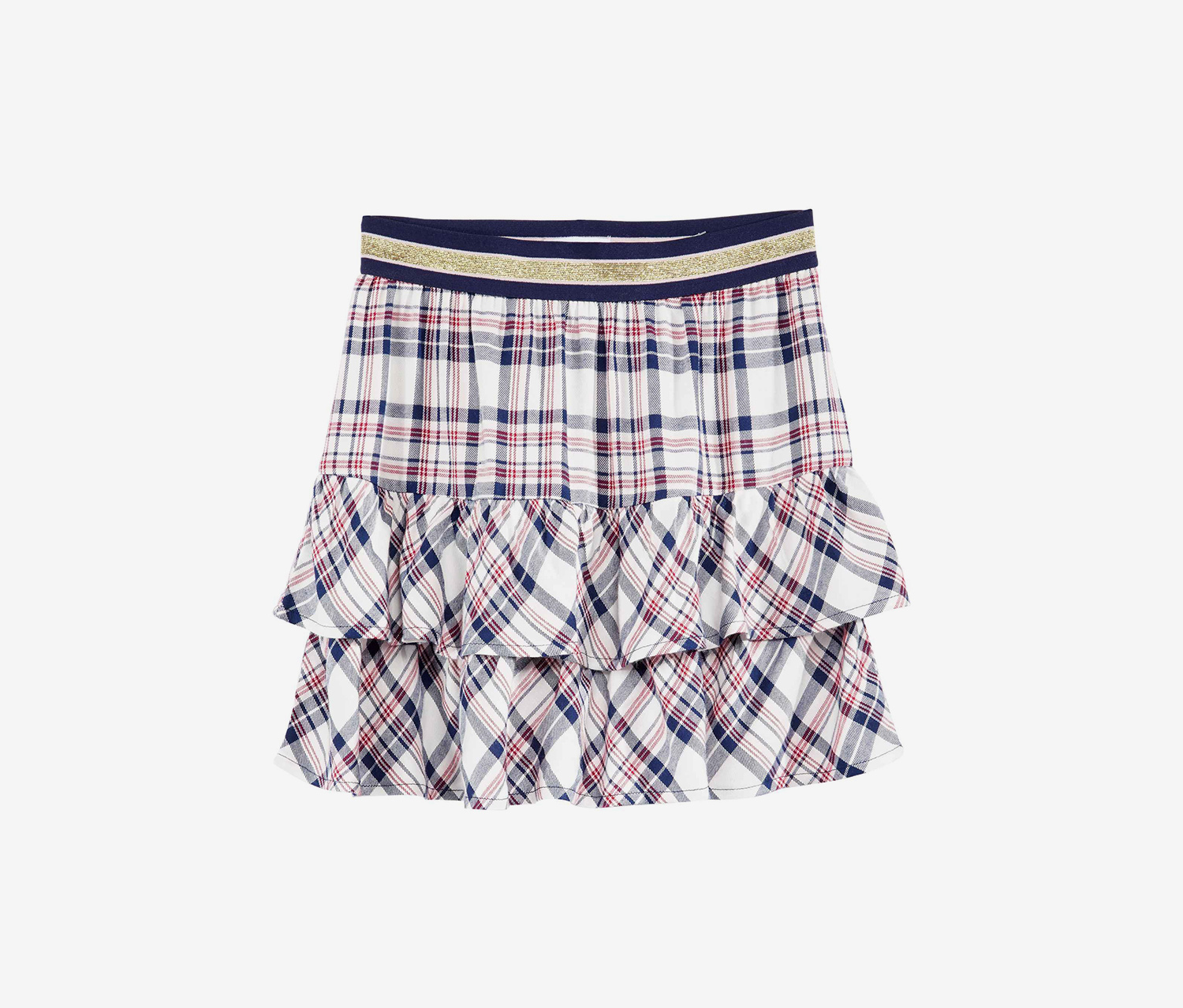 Girl's Plaid Skirt, Holiday Ivory Combo