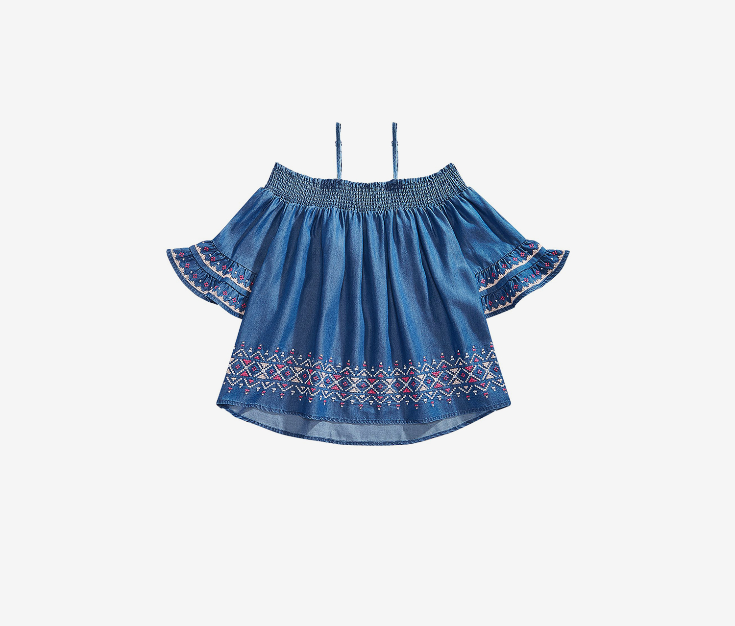 Big Girls Embroidered Top, Navy