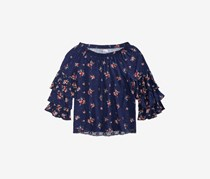 Epic Threads Floral Print Top, Navy
