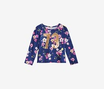 Toddler Girls Sequin Floral-Print T-Shirt, Navy