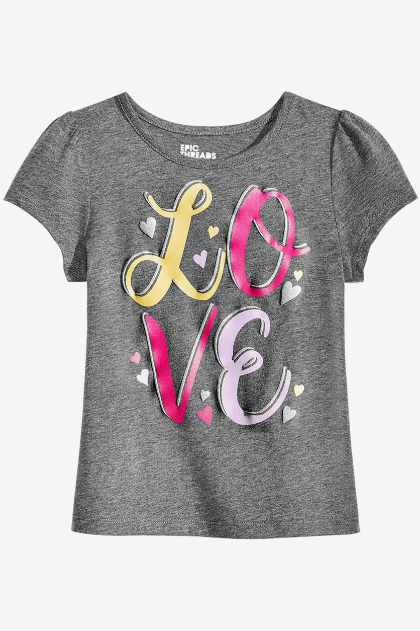 Toddler Girls Graphic-Print T-Shirt, Charcoal Heather