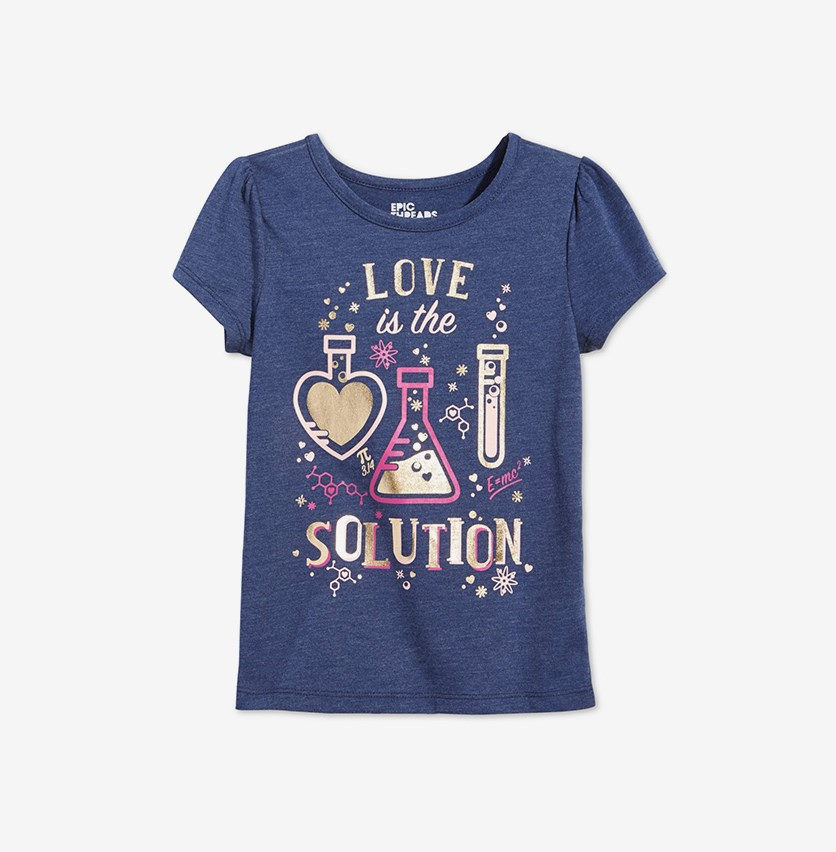Little Girls Graphic-Print T-Shirt, Medieval Blue