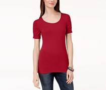 Inc International Concepts Ruched-Sleeve T-Shirt, Real Red