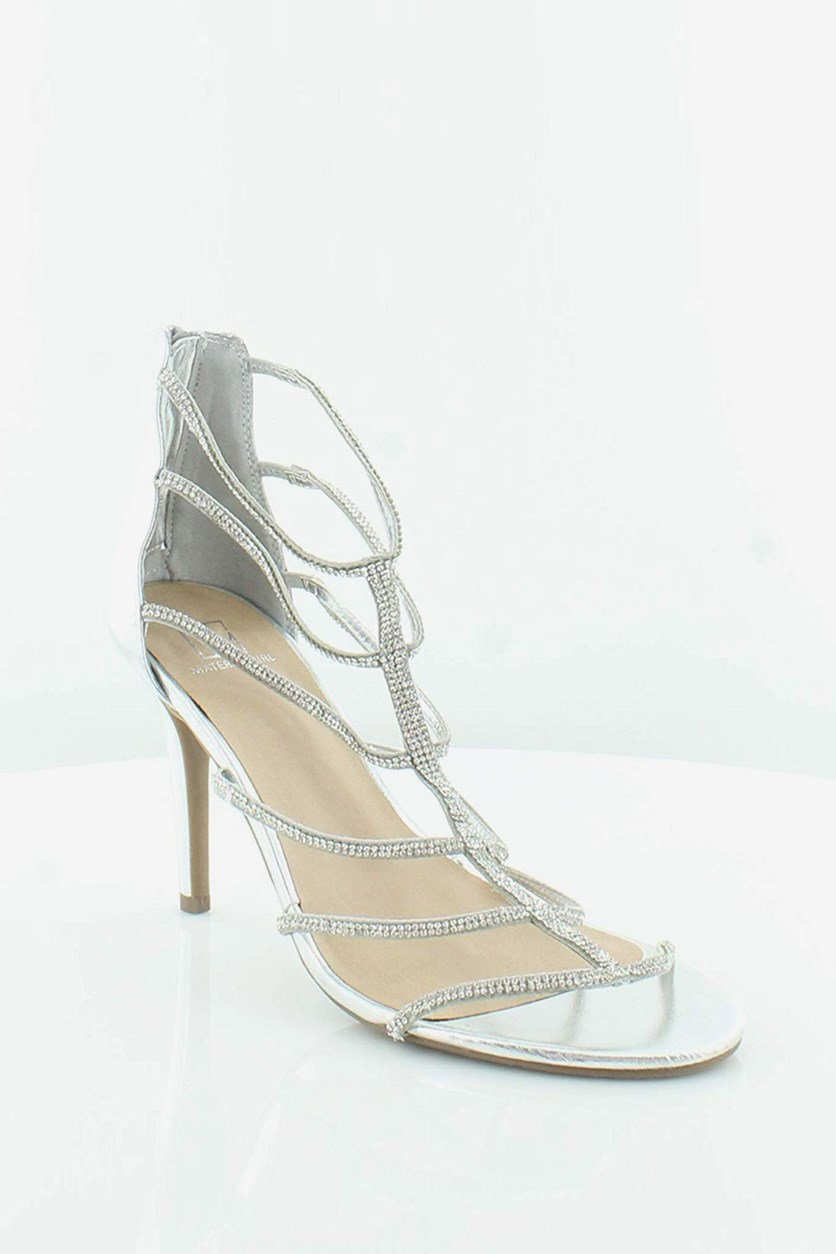 Raissa Embellished Dress Sandals, Silver