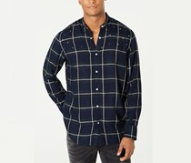 INC Mens Studded Windowpane Shirt, Basic Navy