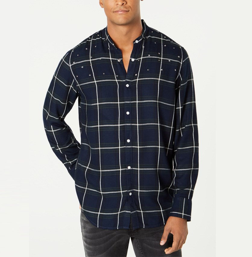 Mens Studded Windowpane Shirt, Basic Navy