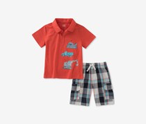 Kids Headquarters Kids Boy's 2-Pc. Trucks Graphic-Print Set, Red Combo