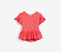 KIds Girls Bailee Peplum-Hem Pocket T-Shirt, Coral