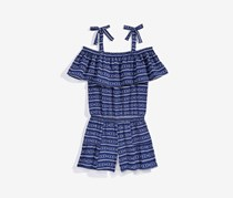 Nowadays Big Girls Arrow-Print Romper, Navy