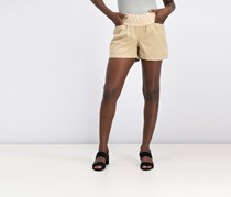 Women's High Waist Pull On Short, Beige