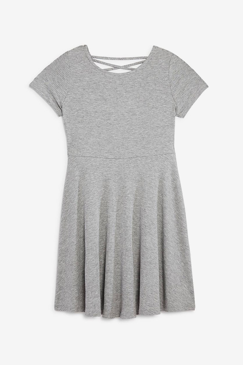 Girls' Crisscross-Back Skater Dress, Grey Heather