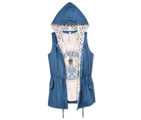 Beautees Girl's 3-Pc. Anorak, T-Shirt & Necklace Set, Blue/White