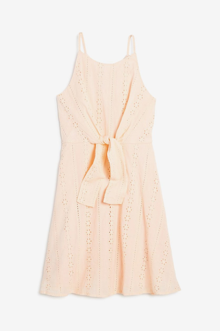 Girls' Tie-Front Eyelet Dress, Light Pink