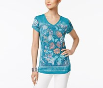 Style & Co Women's Floral Graphic T-Shirt, Blue