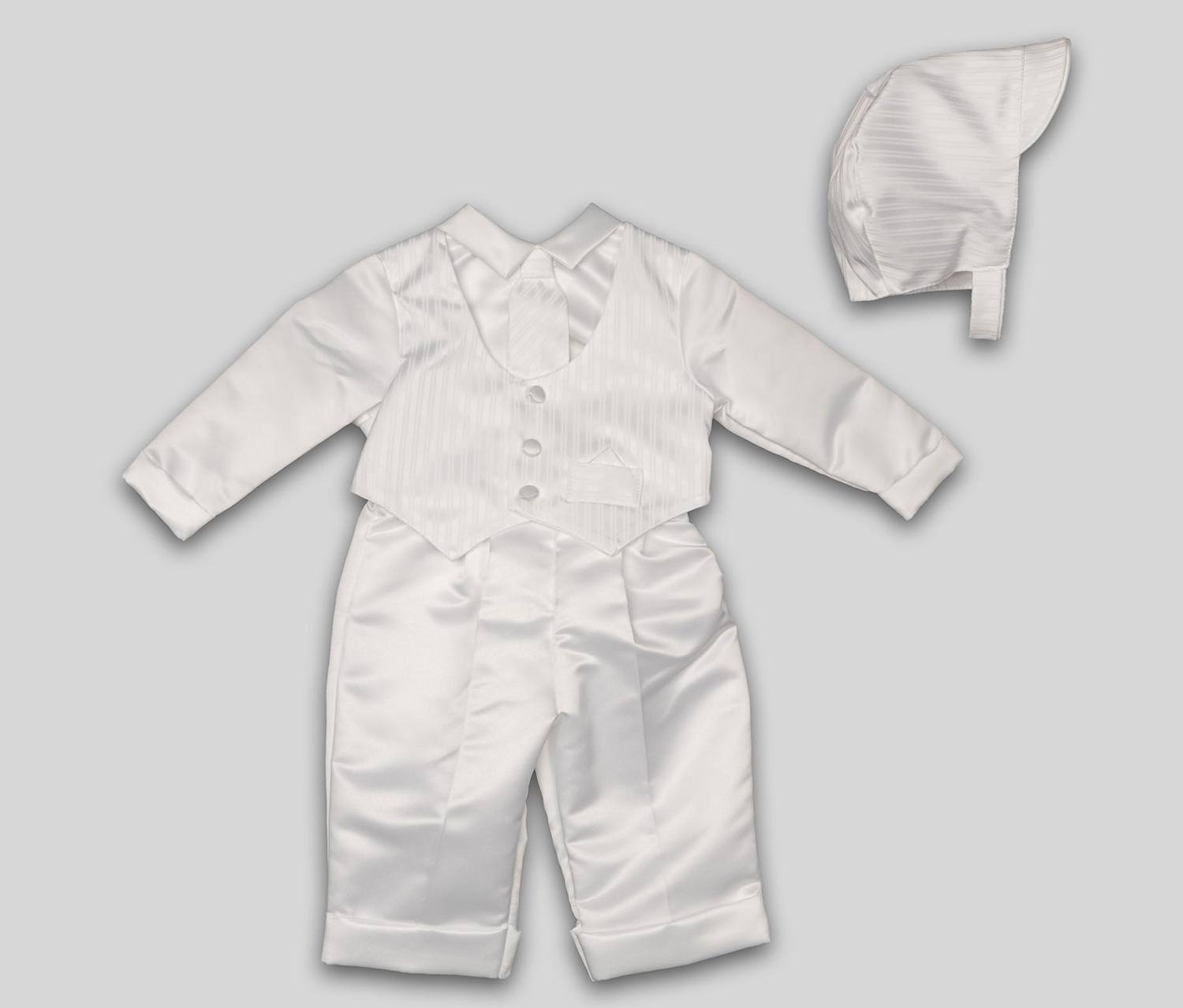 Nicholas Boy's Christening Suit & Bonnet, White