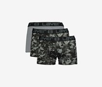 Layer 8 Men's 3 Pack Comfort Stretch Trunks, Black/Camo/Grey