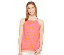 Trina Turk Women's Cotton Fringe-Trim Top, Pink/Orange