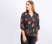 Fortune +Ivy Women's Floral Stripe Blouse, Black Combo
