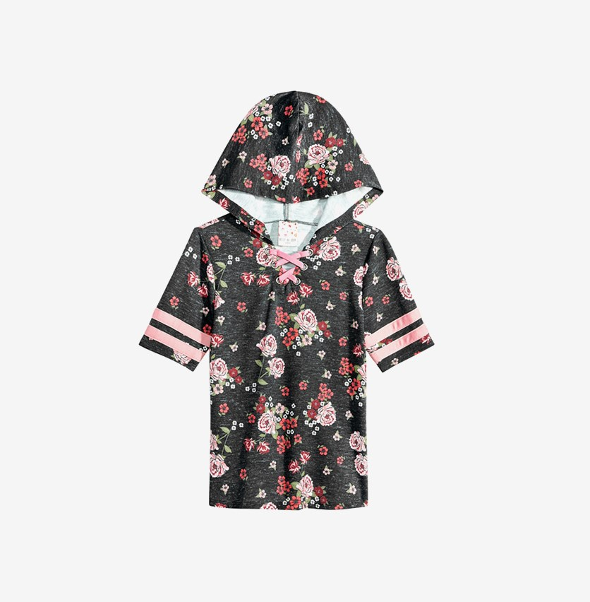 Big Girls Hooded Lace-Up Top, Black