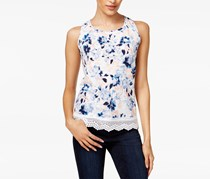 Maison Jules Cotton Floral-Print Crochet-Trim Top, Bright White/Blue