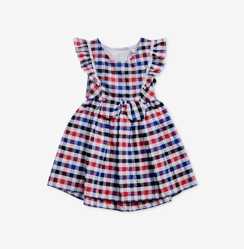 Sweet Heart Rose Multi-Color Checked Dress, Combo