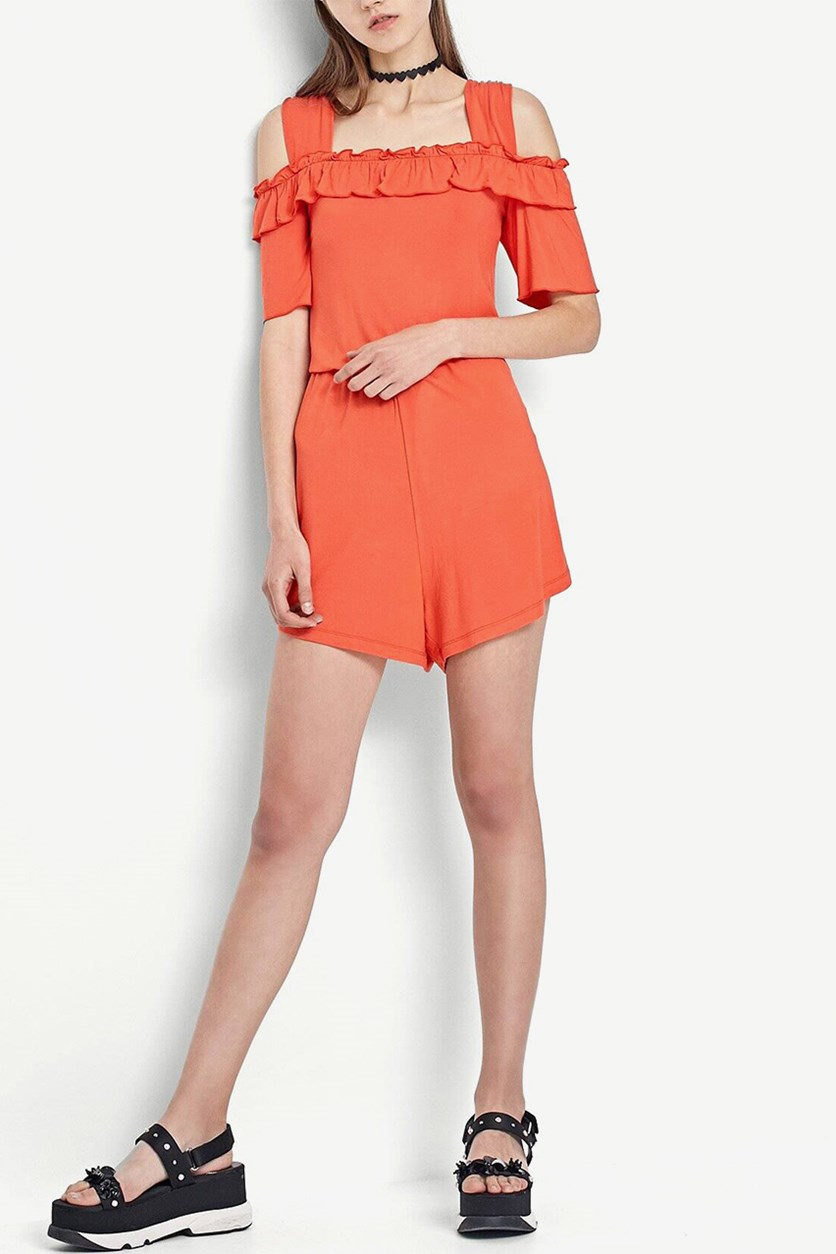 Women's Cold Shoulder Romper, Orange