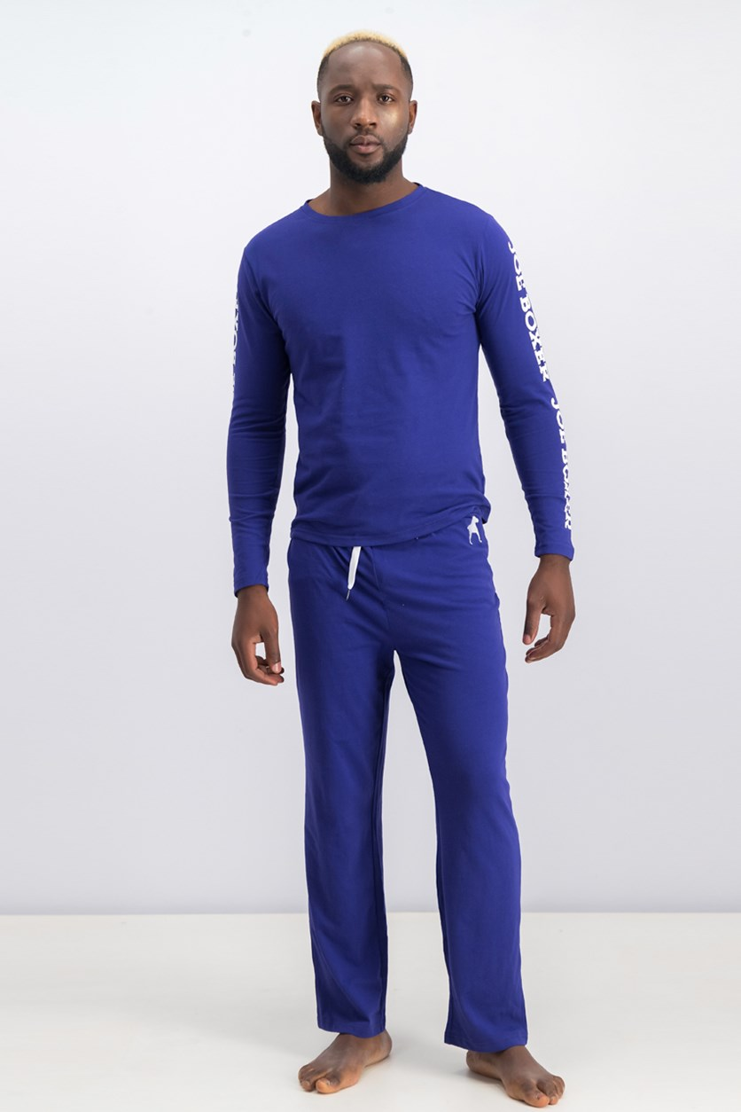 Men'sLong Sleeve Pajama Set, Blue