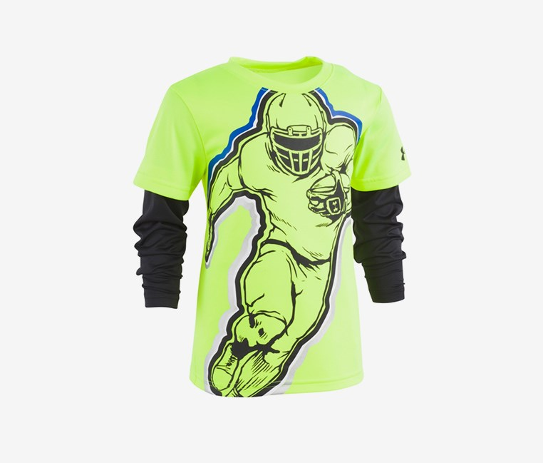 Boys Football Hero Slider Shirt, Lime Green/Black