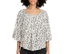 Denim & Supply Ralph Lauren Women's Floral-Print Gauze Shirt, Black/White