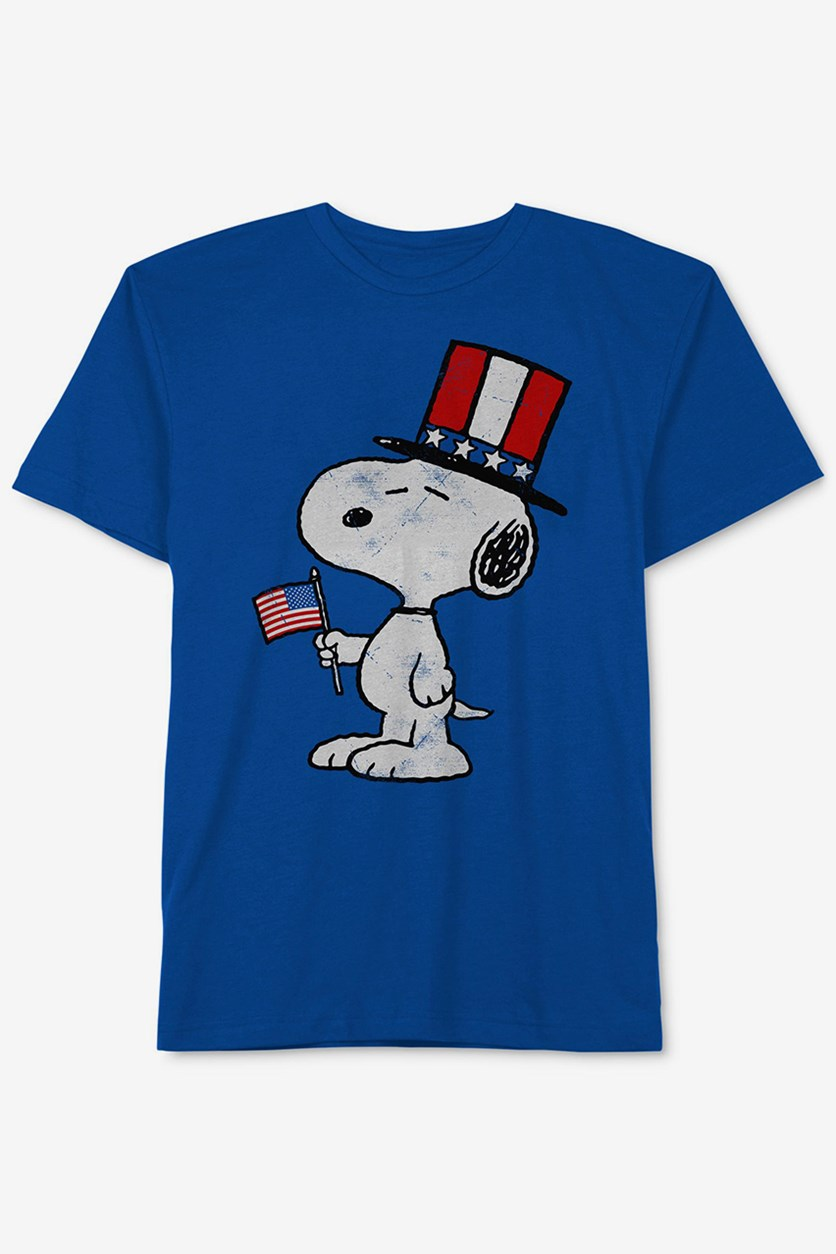 Peanuts Little Boys Snoopy-Print Cotton T-Shirt, Blue