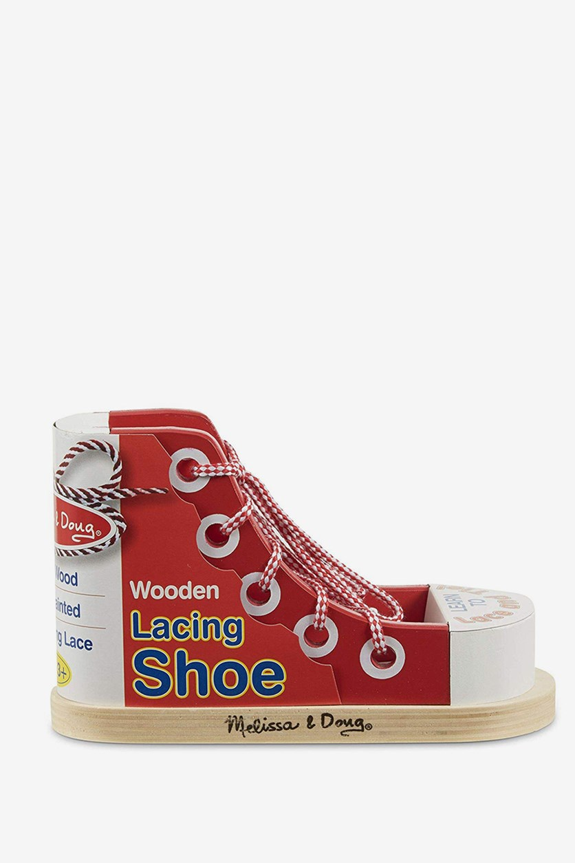 Wooden Lacing Shoe, Red Combo