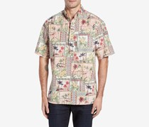 Kahala Aloha Classic Fit Pullover Camp Shirt, Red/Green Combo