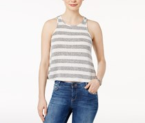Bar Iii Women's Striped Cutaway Tank Top, White/Grey