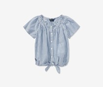 Ralph Lauren Little Girls Striped Cotton Top, Navy/White