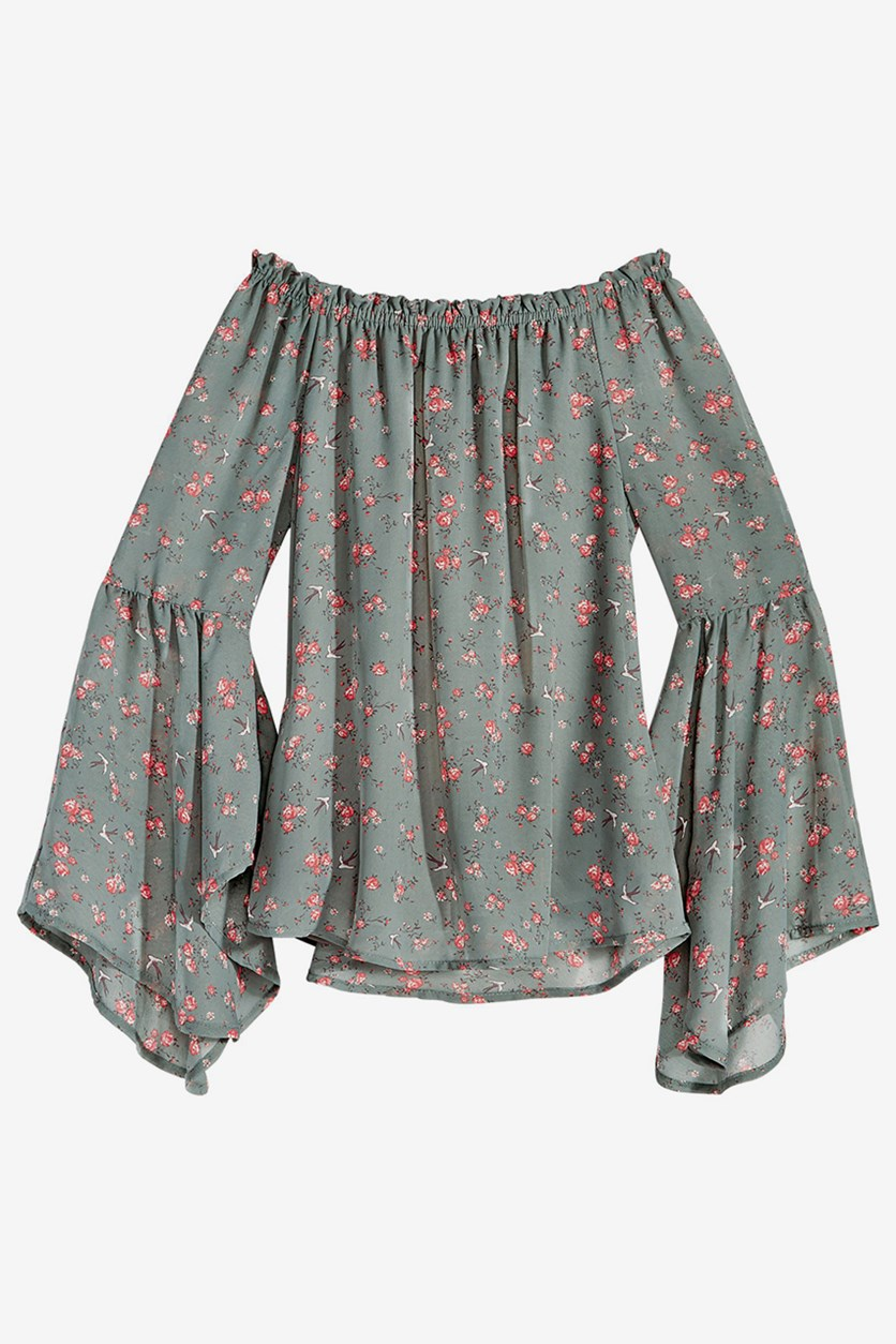 Big Girls Floral-Print Peasant Floral, Green