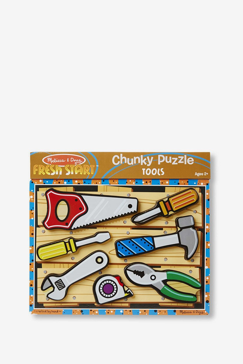Melissa & Doug Tools Wooden Chunky Puzzle, Grey Combo