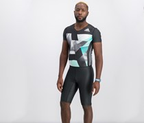 Adidas Men Track and Field Suit, Charcoal/White/Teal Combo